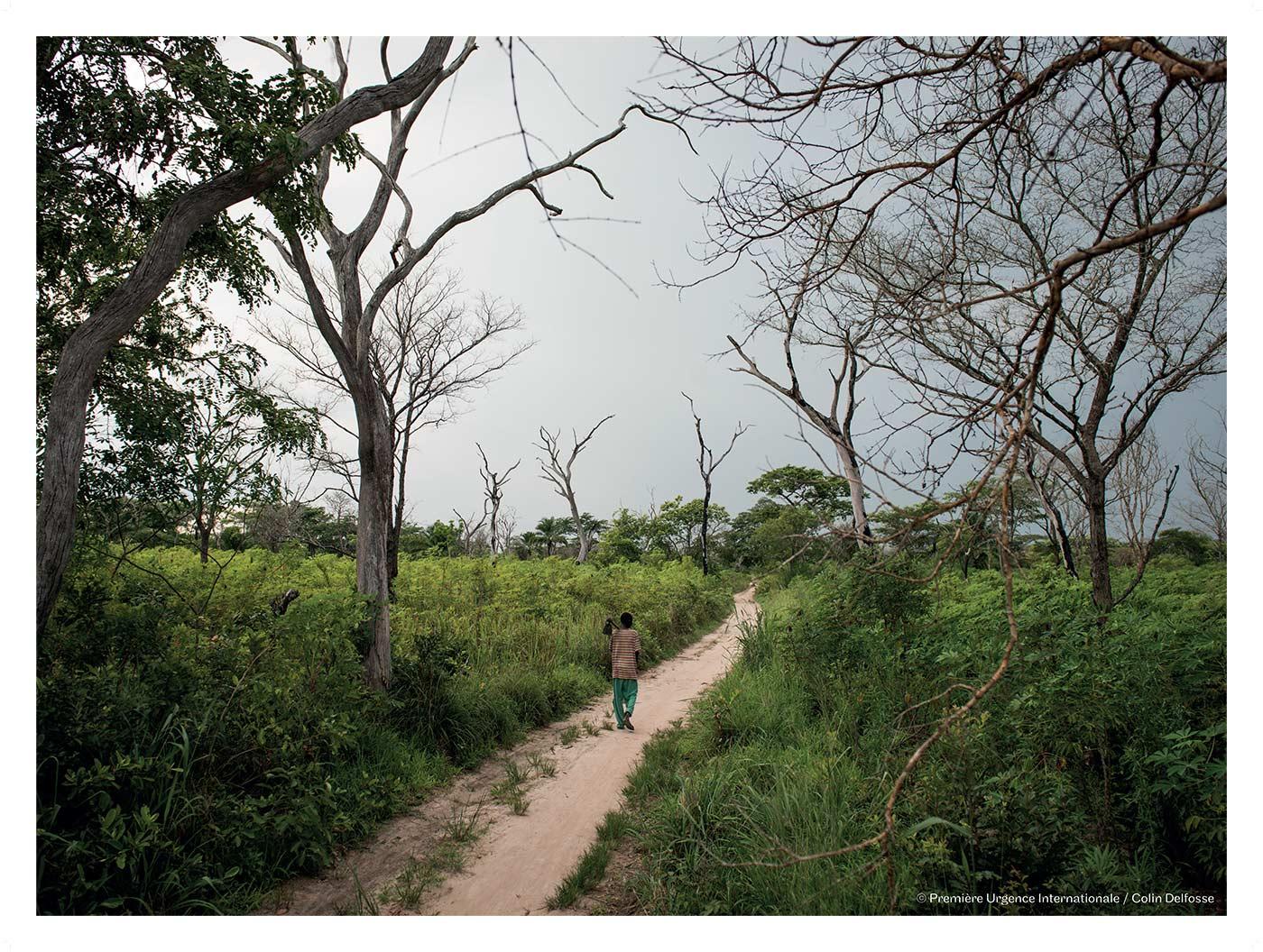 Luakato – Denis Mukolay, 32 ans, père de 9 enfants, dans son champ de manioc.