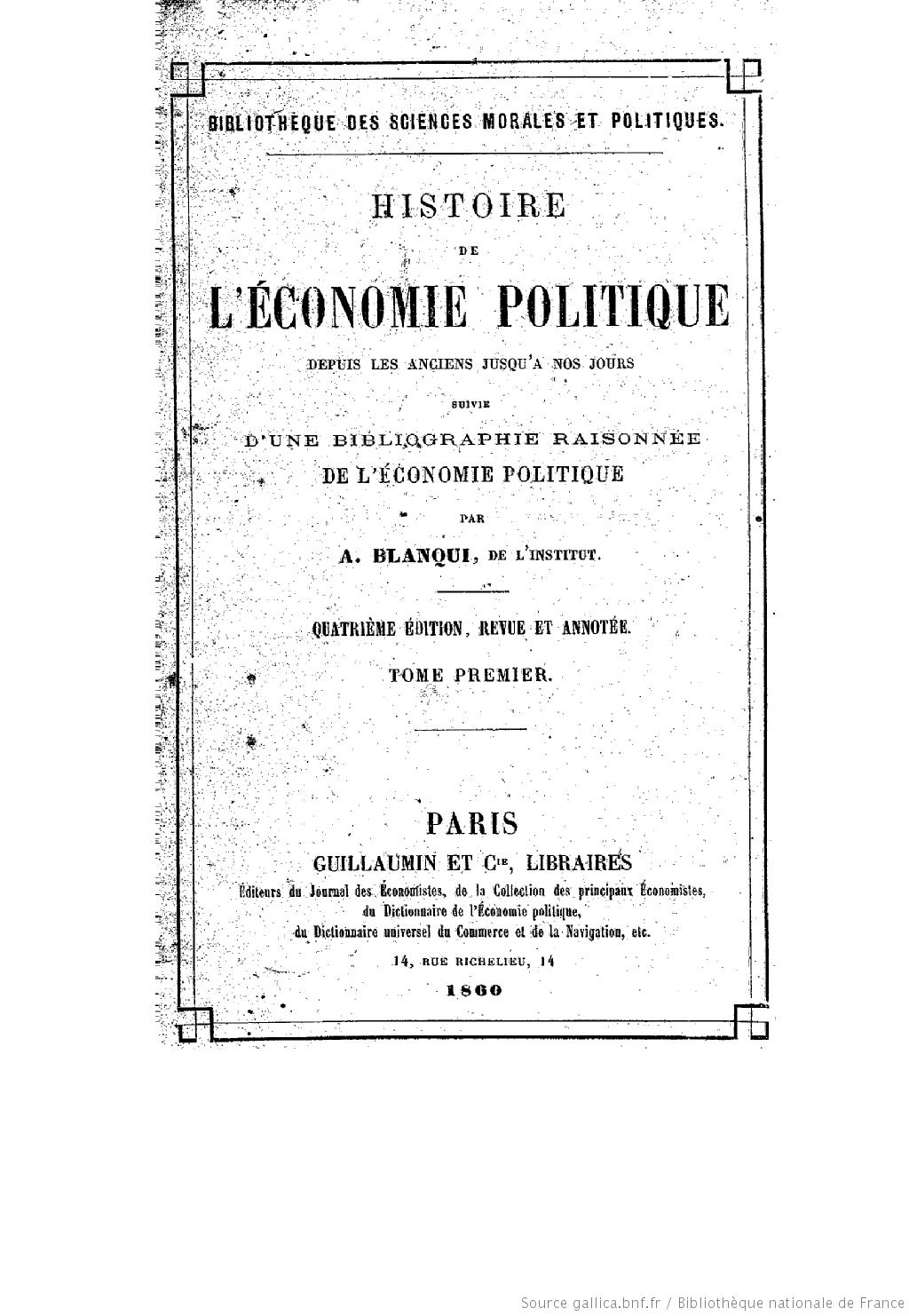 Blanqui: Histoire de l'économie politique