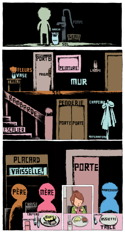Extraits des planches 36 et 41 un monde de mots © Editions ça et là / Editions Cambourakis