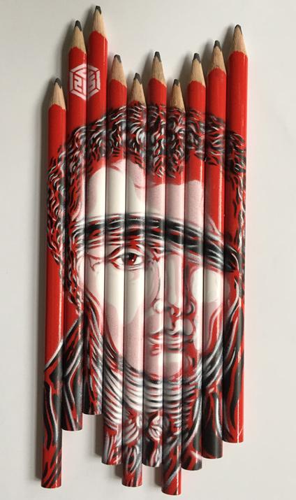 Les crayons de Conté vus par C215
