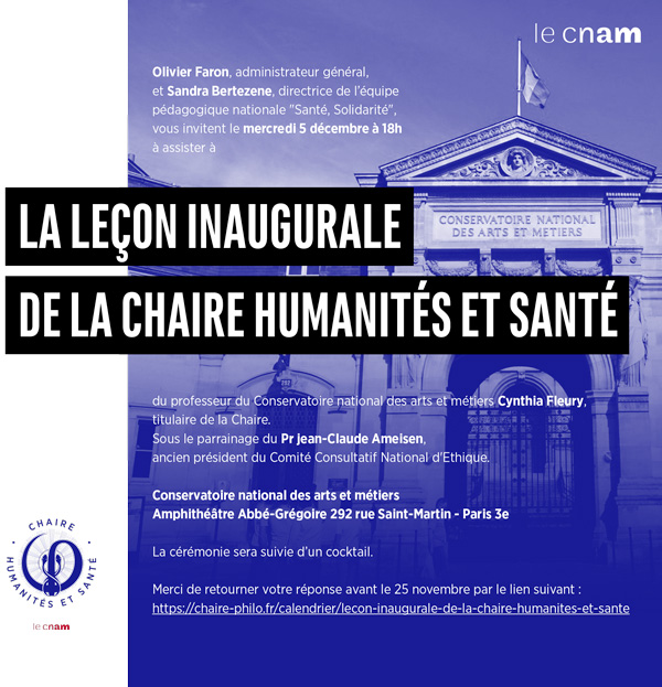 5 decembre - invitation - chaire humanites et sante