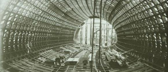 """""""station St Michel en cours de montage""""  Léon Chagnaud / Compagnie du chemin de fer métropolitain de Paris  © Musée des arts et métiers, Cnam / Photo Michèle Favareille"""